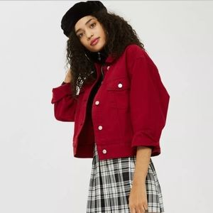 Topshop MOTO Red Boxy Denim Jacket